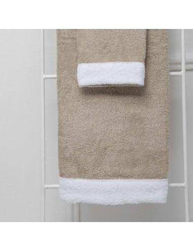 Coppia asciugamani personalizzabili in spugna sabbia con bordo in spugna bianca