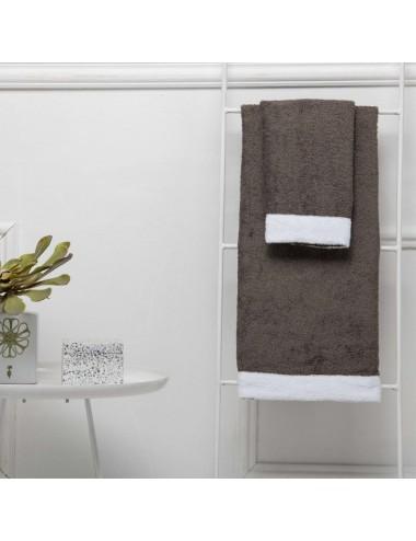 Coppia asciugamani personalizzabili in spugna grigia con bordo in spugna bianca