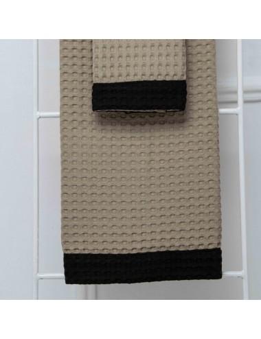 Coppia asciugamani personalizzabili in apone sabbia con bordo in apone nero