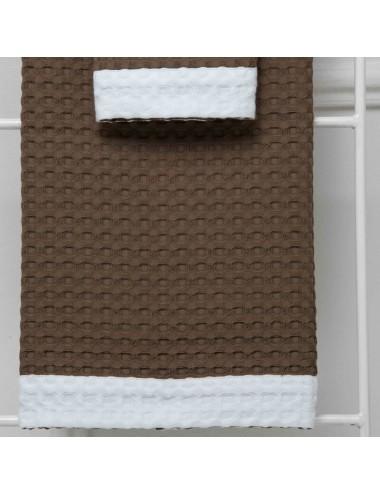 Coppia asciugamani personalizzabili in apone tortora con bordo in apone bianco