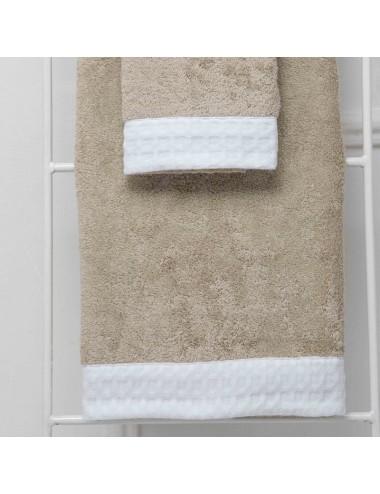 Coppia asciugamani personalizzabili in spugna sabbia con bordo in apone bianco