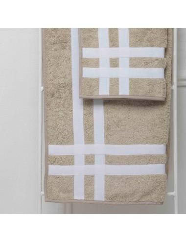 Coppia asciugamani personalizzabili in spugna sabbia con doppio incrocio in gros grain bianco
