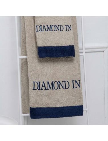Coppia asciugamani personalizzabili in spugna sabbia con bordo in spugna blu