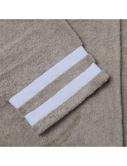 Accappatoio in spugna sabbia con incroci in gros grain bianco