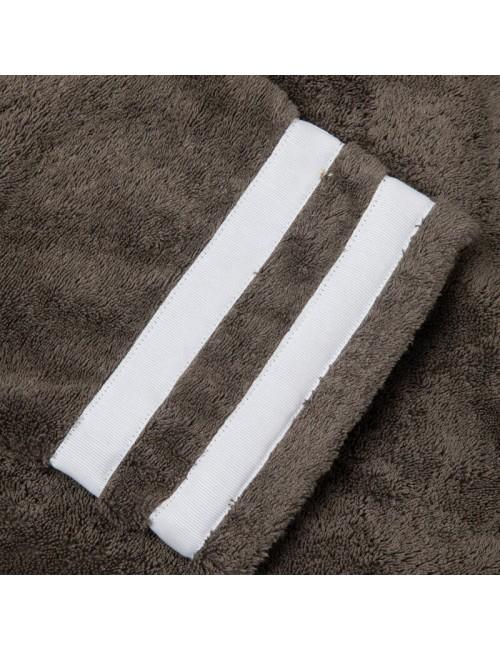 Accappatoio in spugna grigia con incroci in gros grain bianco