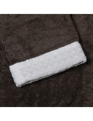 Accappatoio in spugna grigia con bordi in apone bianco
