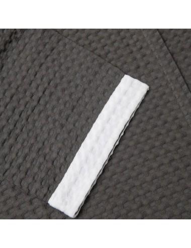 Accappatoio in apone grigio con bordo in apone bianco