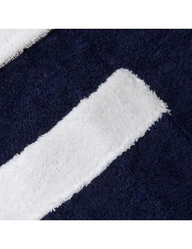 Accappatoio in spugna blu con bordo in spugna bianca