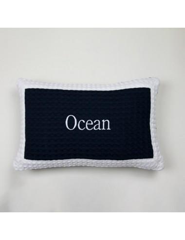 Blue waffle weave cushion...