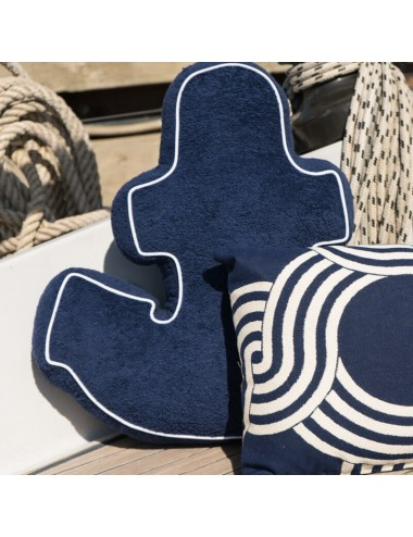 Blue terry cloth cushion in...