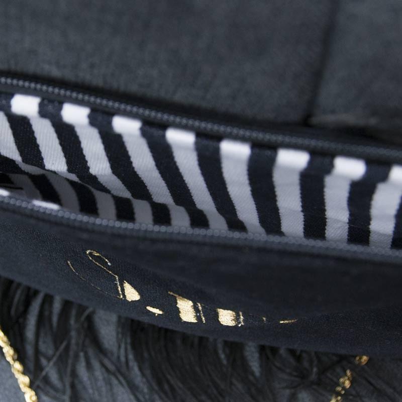Borsetta in velluto nero interno cotone millerighe bianco e nero