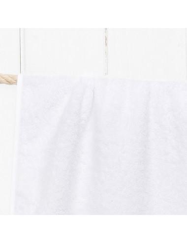 Telo mare personalizzabile in spugna bianca con cordino in cotone bianco