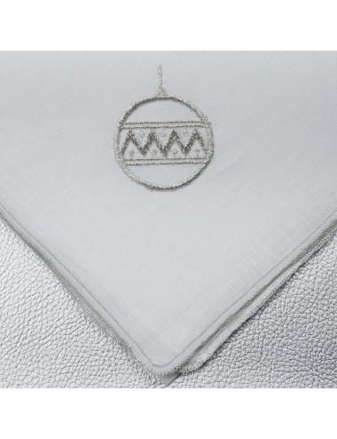 Set 6 tovaglioli in puro lino con ricami natalizi in filo argento