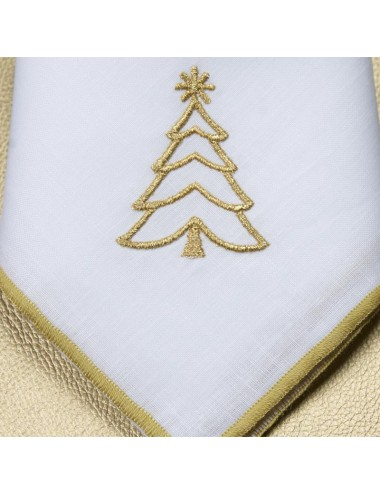 Set 6 tovaglioli in puro lino con ricami natalizi in filo oro