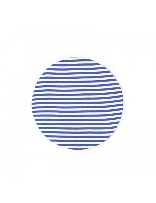 Set 2 sottopiatti tondi a righe di cotone bianco/blu