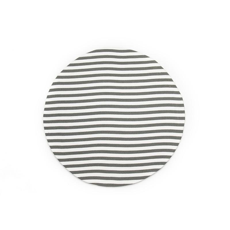 Set 2 sottopiatti tondi a righe di cotone bianco/grigio