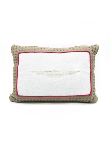 Cuscino in spugna bianca con bordo in apone tortora e bordino rosso