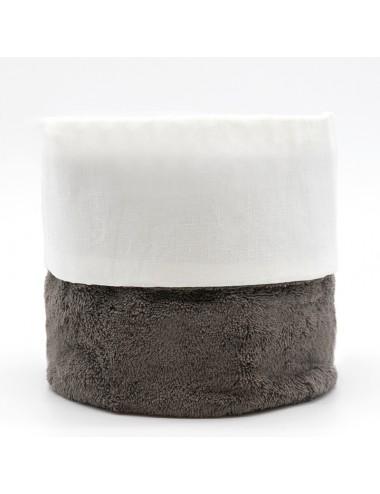 Cestino tondo in spugna grigia con interno in lino bianco