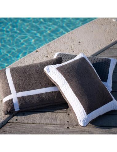 Gray terry cloth cushion...