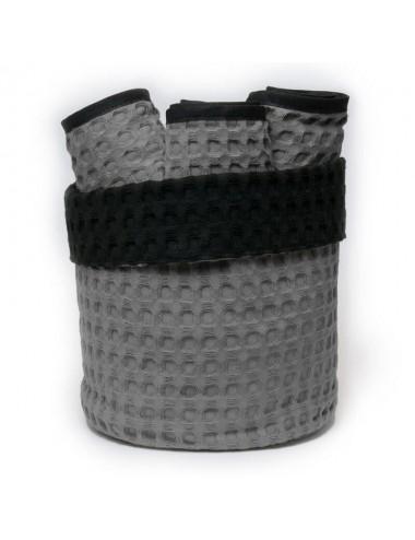 Cestino tondo in apone grigio con interno in apone nero e lavette