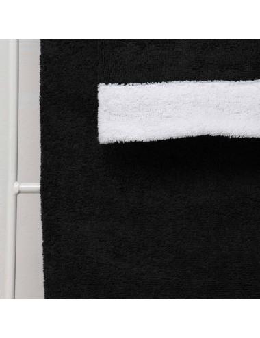 Coppia asciugamani personalizzabili in spugna nera con bordo in spugna bianca