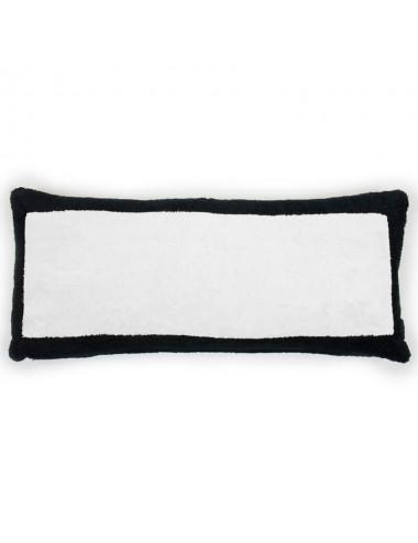 White terry cloth cushion with black terry cloth edge
