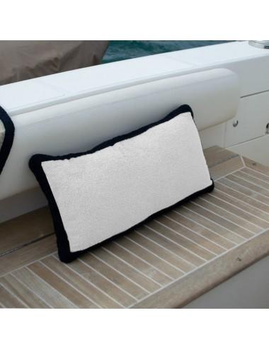 Cuscino in spugna bianca con bordo in spugna nera