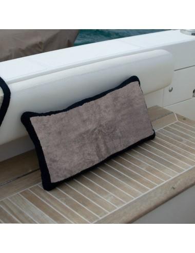 Gray terry cloth cushion with black terry cloth edge
