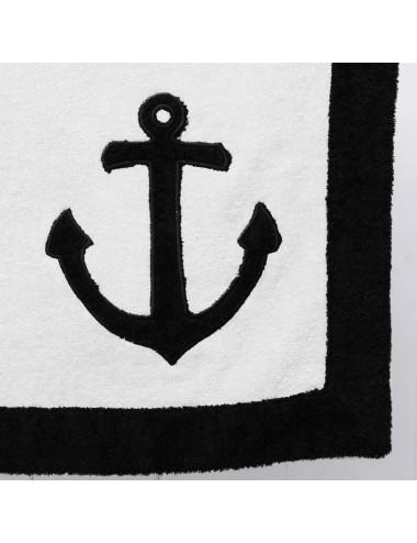 Telo mare in spugna bianca con bordo in spugna nera e ricamo patchwork àncora marina
