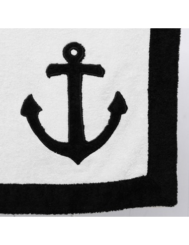 Gray terry cloth beach towel with a white terry cloth edge and a sea anchor patchwork embroidery