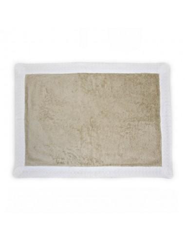 Tappetino personalizzabile in spugna sabbia con bordo in apone bianco