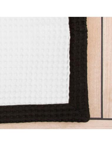 Tappetino personalizzabile in apone bianco con bordo in apone nero