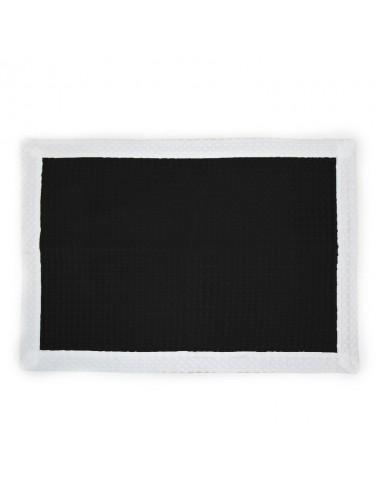 Tappetino personalizzabile in apone nero con bordo in apone bianco