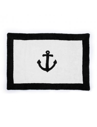 White terry bath mat with marine anchor patchwork embroidery