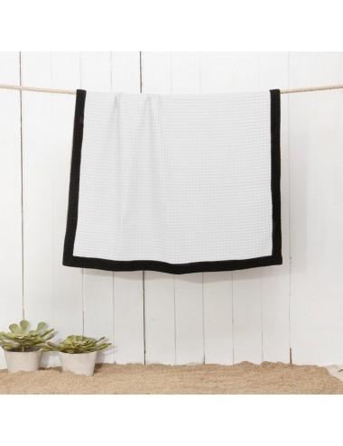 Customizable white beach towel waffle weave with a black waffle weave edge