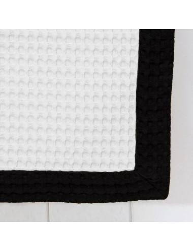 Telo mare personalizzabile in apone bianco con bordo in apone nero