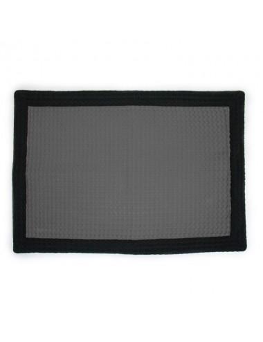 Tappetino personalizzabile in apone grigio con bordo in apone nero