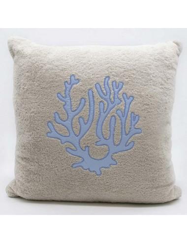 Cuscino in spugna sabbia con corallo azzurro