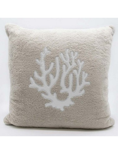 Sand-colored terry cloth cushion with white coral
