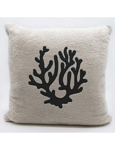 Sand-colored terry cloth cushion with black coral