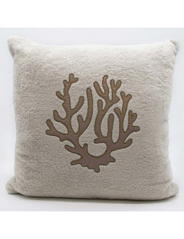 Sand-colored terry cloth cushion with dove-gray coral