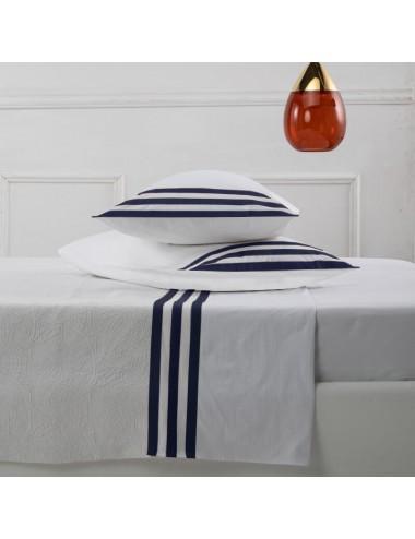 Completo letto in percalle bianco con motivo a blu