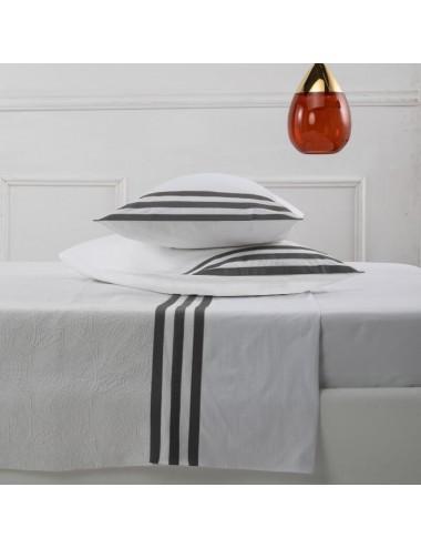 Completo letto in percalle bianco con motivo a fasce grigio