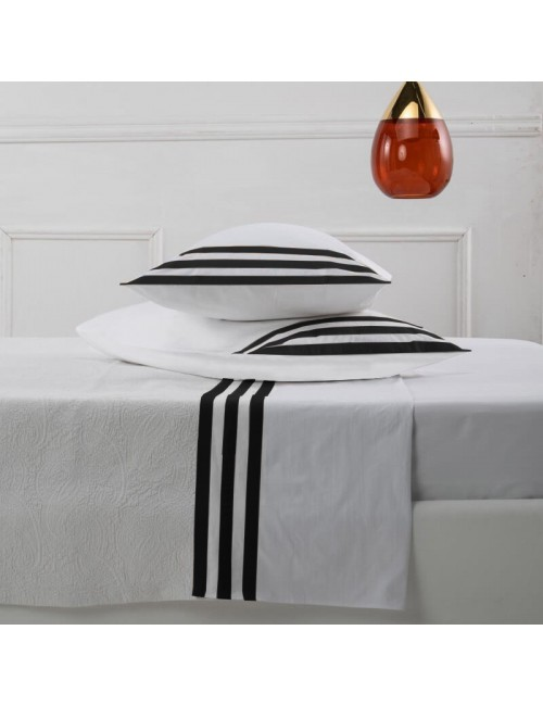 Completo letto in percalle bianco con motivo a fasce nere