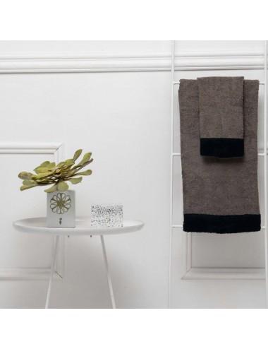Coppia asciugamani personalizzabili in spugna grigia con bordo in spugna nera
