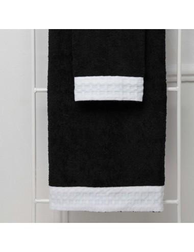 Coppia asciugamani personalizzabili in spugna nera con bordo in apone bianco