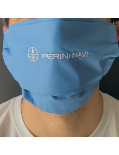 Mascherina personalizzabile in percalle blu