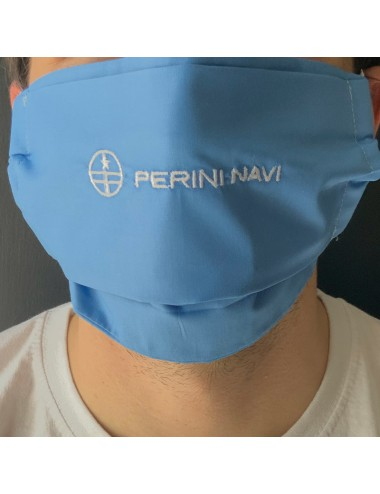 Customizable mask for adults in blue percale