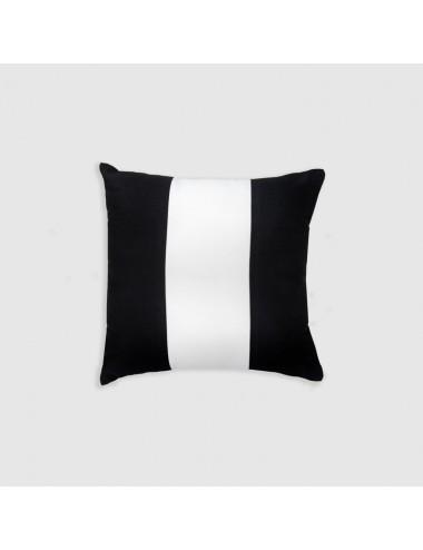 Cuscino in cotone nero con banda bianca