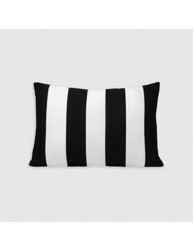 Cuscino in cotone bianco con doppia cornice sabbia